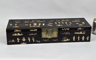 Chinese Inlaid Lacquer Box, Late Ming Dynasty