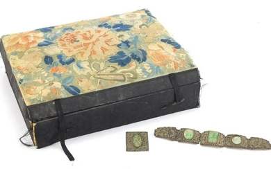 Chinese silk embroidered jewellery box together with a