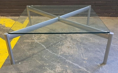 Chipped Glass Top Coffee Table on Brushed Steel base (h:42 x w:112 x d:112cm)