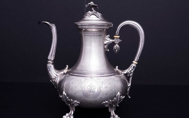 Coffee pot - .950 silver - Charles Harleux after 1891 - France - Late 19th century