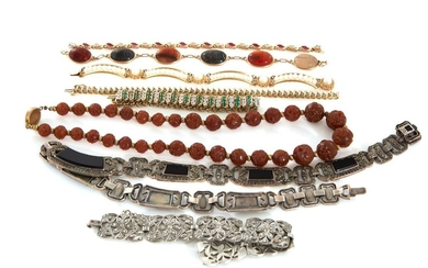 Collection gemstone, gold and silver jewelry (8pcs)