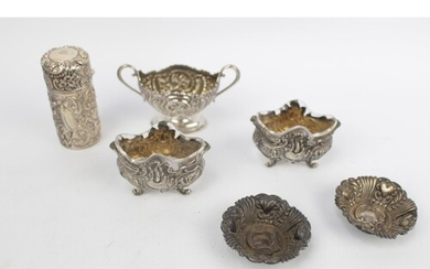 Collection of White metal highly foliate decorated Silver wa...