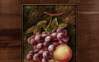 Continental School, 19th/20th Century Still Life with Grapes, Peach, and Gooseberries