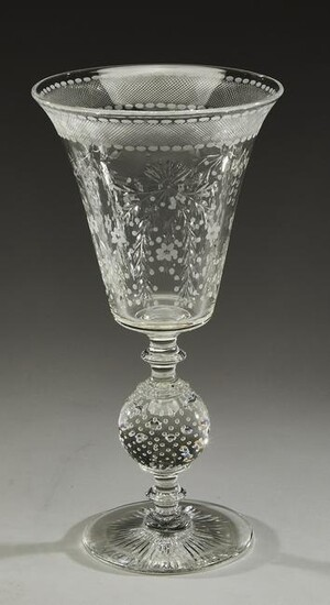 "Cut and etched crystal vase, of goblet form, 12""h"