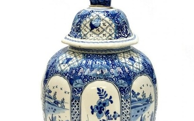Delft Pottery Chinoiserie Paneled Lidded Urn