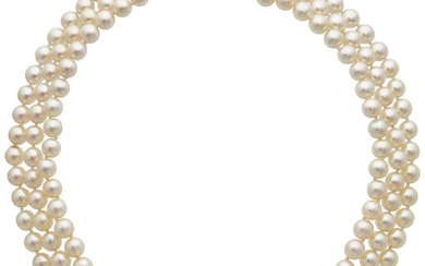 Diamond, Cultured Pearl, White Gold Necklace The necklace is...