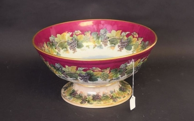 ENGLISH PORCELAIN, Footed Bowl, Grape Vine decorated