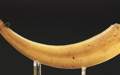 ENGRAVED WAR OF 1812 RELIC POWDER HORN, ENGRAVED WITH