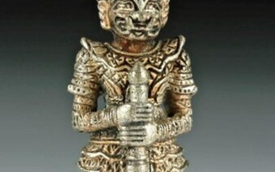 Early 20th C. Indian Silvered Brass Yaksha Amulet