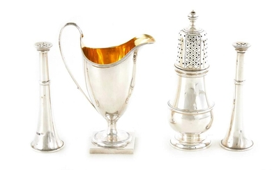 English sterling silver table articles, shakers, caster and creamer (4pcs)