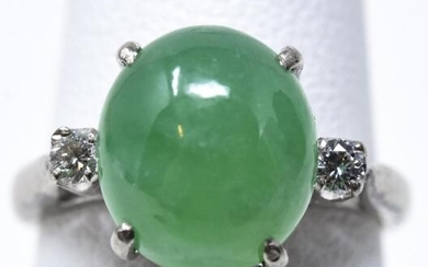 Estate 14k White Gold Cabochon Jade & Diamond Ring