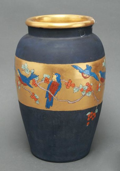 "Ethel Smith ""Birds and Holly"" Pottery Vase"