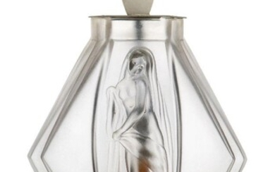 Etling, a French Art Deco glass vase moulded with figures...