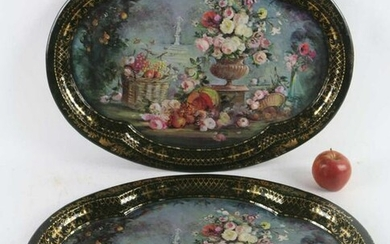 FINE PAIR OF HAND PAINTED TOLEWARE TRAYS