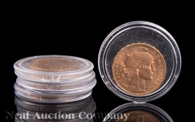 "Four French Gold 20 Franc ""Rooster"" Coins"