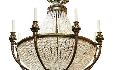 French Belle Epoque Bronze & Crystal Chandelier