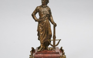 French Gilt Metal Mantle Figure of a Hunter with