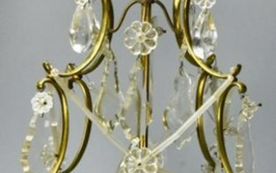 French Style Brass & Crystal Pendant Chandelier