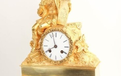 French mantel clock with writer - Bronze (gilt/silvered/patinated/cold painted) - 1380/1850