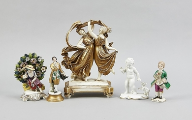 Five figurines, German, 20th century, two dancing muses,...