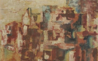 GAWLITE 1957, Oil/b City Abstract Landscape