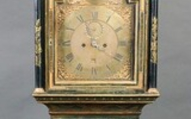 Georgian Green Japanned Tall Case Clock, 18th C.
