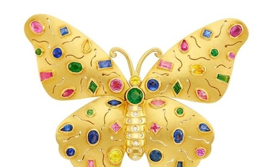 Gold, Multicolored Sapphire and Diamond Butterfly Pendant-Brooch