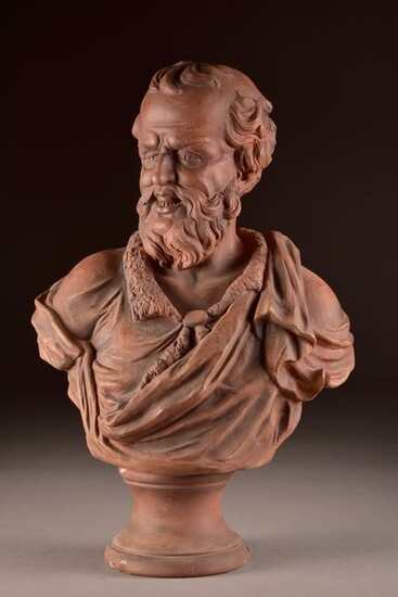 Goldscheider Porcelain Manufactory and Majolica Factory - Sculpture, large bust of a man with beard - 53 cm (1) - Terracotta - about 1900