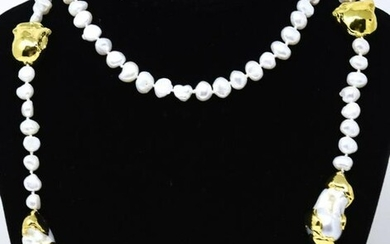 Hand Knotted Baroque Pearl Necklace w Gold Detail
