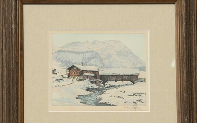 Hans Figura, Winter Landscape, Aquatint Etching
