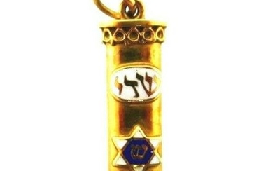 ISRAEL HEBREW 10k Yellow Gold & Enamel Charm Vintage