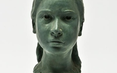 Illegibly Signed Composition Bust of Young Girl