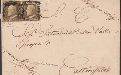 Italian Ancient States - Sicily 1859 - 1 gr. light olive brown, 2nd plate, Naples paper, pair on letter to Caltanissetta - Sassone N. 4c