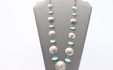 James McCabe Sterling Silver & Turquoise Coin Necklace.