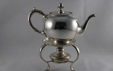 Kettle on stand and burner, Silver Trekpot jrl. 1886 on Brazier - .833 silver - Van Kempen - Netherlands - Late 19th century