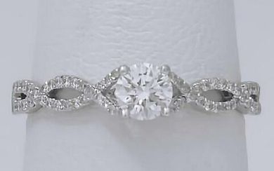 LADIES NEW S. KASHI 14k WHITE GOLD .51ct ROUND DIAMOND