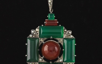Ladies' Art Deco Wachenheimer Brothers Sterling Silver, Green Onyx, Carnelian and Marcasite Pendant on Figaro Chain