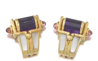 Ladies' Gold, Amethyst, Pink Tourmaline and Mother-of-Pearl Pair of Ear Clips