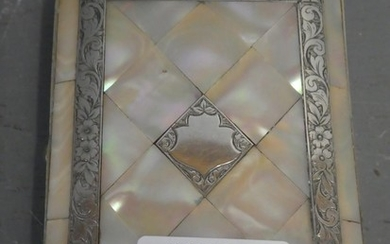 Ladies mother of pearl & silver card case with blue compartm...