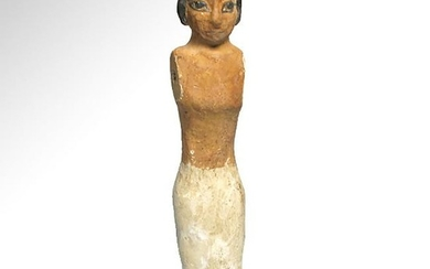 Large Egyptian Wooden Figure of a Standing Attendant