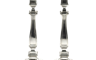 Large and Impressive Pair of Sterling Silver Candlesticks.