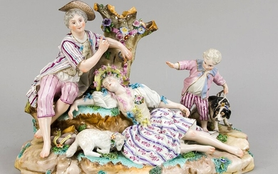 Large group of shepherds, Meissen imitation mark, 19th / 20th Century, resting shepherdess and a shepherdess on a log, next to it lying sheep and boy with dog, poolychrome painted and gilded, model no. 2157, multiple dam., 22 x 31 x 21 cm