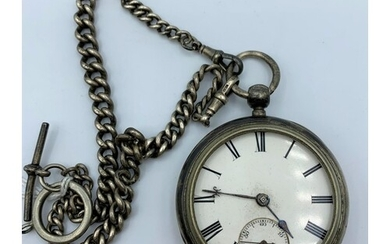 Late 19th Century Silver Pocket Watch With Key Wind Plus a D...