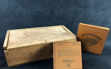 Lot Of 3 Vintage Cigar Wooden Boxes Honda Nat Sherman