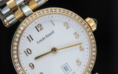 Louis Erard - 60 Diamonds for 0.30 Carat Cabochon Sapphire 2 Tone IP Rose Gold Swiss Made - 10800SB40.BMA26 - Women - BRAND NEW