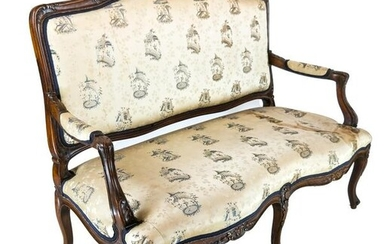 Louis XV Carved Walnut Settee