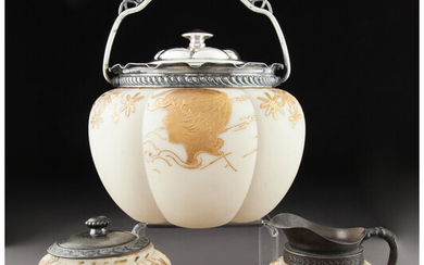 Mount Washington for Smith Brothers Partial Gilt Ivory Glass and Metal Mounted Breakfast Service (circa 1890)
