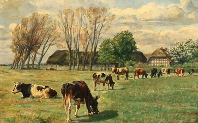 N. P. Mols: Grazing cows in a field with a large farm in the background. Signed and dated N. P. M. 18. Oil on canvas. 42×61 cm.