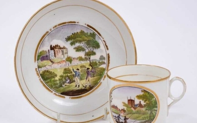 New Hall coffee can and saucer, a Derby saucer and a Davenport can