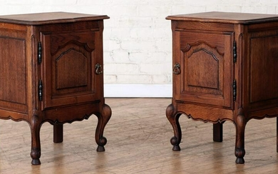 PAIR CARVED OAK FRENCH END TABLES OR NIGHT STANDS